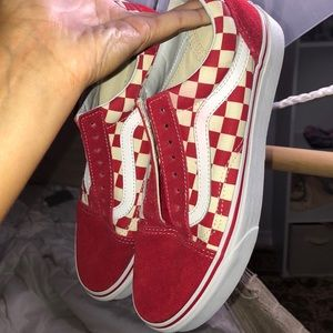 Red checkered old skool vans women or men